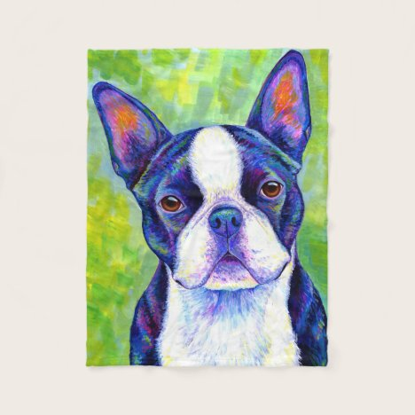 Colorful Boston Terrier Dog Fleece Blanket