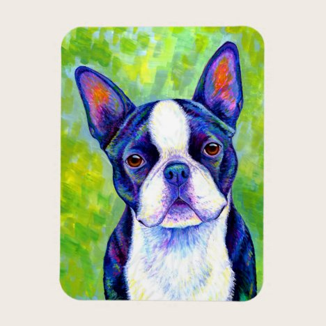 Colorful Boston Terrier Dog Flexible Magnet