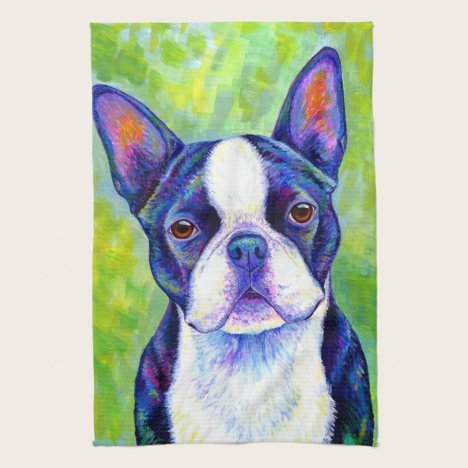 Colorful Boston Terrier Dog Kitchen Towels