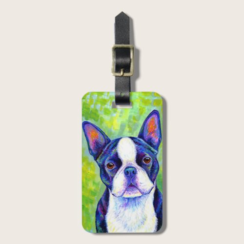 Colorful Boston Terrier Dog Luggage Tag