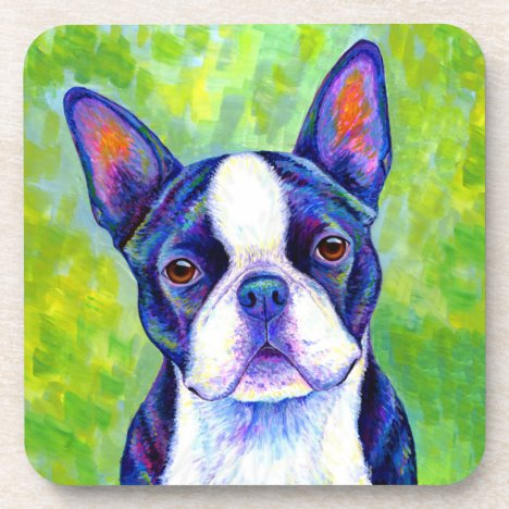 Colorful Boston Terrier Dog Plastic Coasters