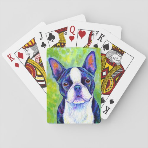 Colorful Boston Terrier Dog Playing Cards