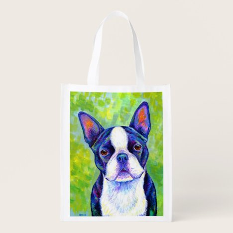 Colorful Boston Terrier Dog Reusable Grocery Bag
