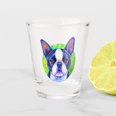Colorful Boston Terrier Dog Shot Glass