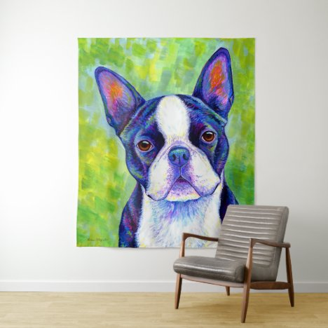 Colorful Boston Terrier Dog Tapestry