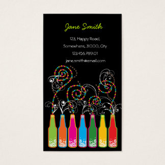 Colorful Bottles Bubbles Pop Fun Party Celebration Business Card
