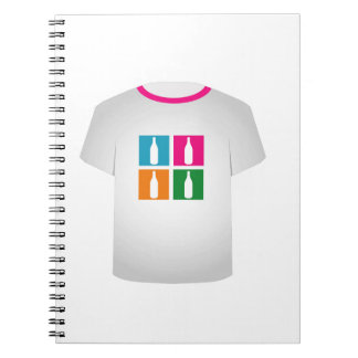 Colorful bottles on a shirt notebook