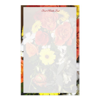 Colorful Bouquet Border With Flower Background Stationery