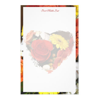 Colorful Bouquet Border With Grunge Bouquet Heart Stationery