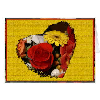 Colorful Bouquet Border With Grunge Flower Heart Card