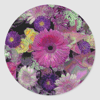 Colorful Bouquet Classic Round Sticker