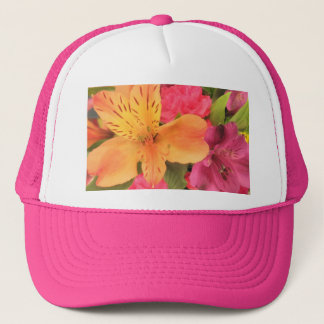 Colorful Bouquet Flowers Floral Print Trucker Hat