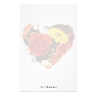 Colorful Bouquet Grunge Heart Background Stationery