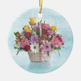 Colorful Bouquet in a Basket Ceramic Ornament