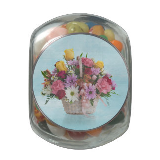 Colorful Bouquet in a Basket Jelly Belly Candy Jars