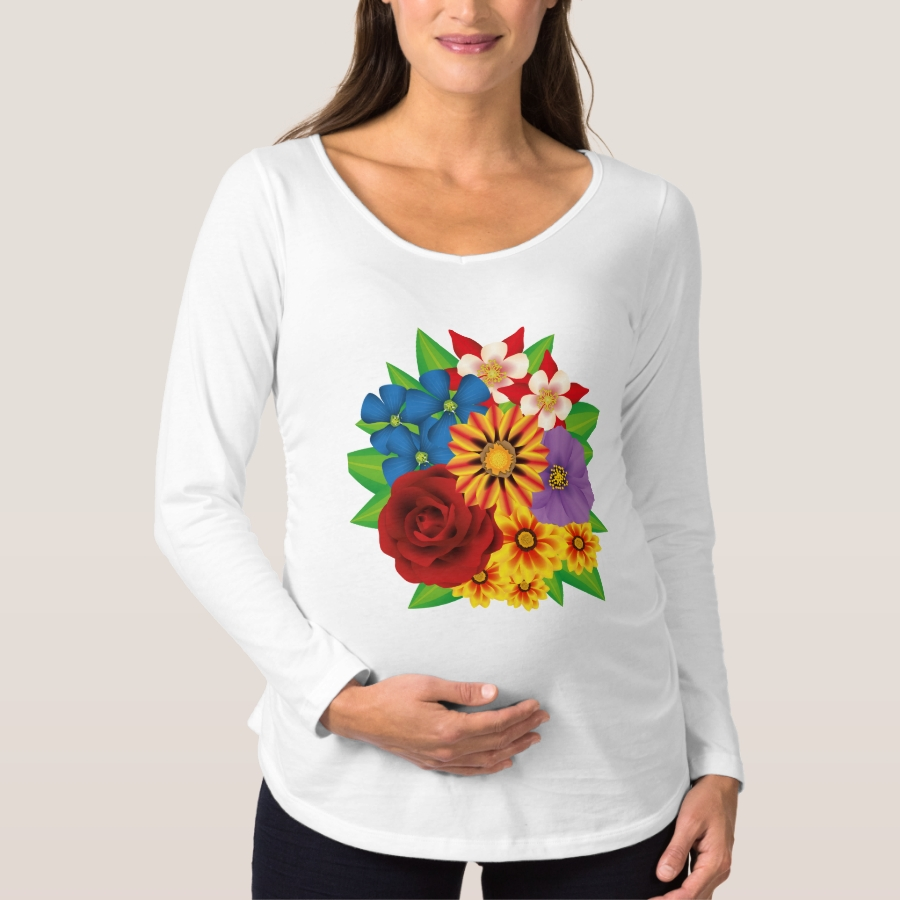 Colorful bouquet maternity T-Shirt - Relaxed And Flattering Maternity Shirts