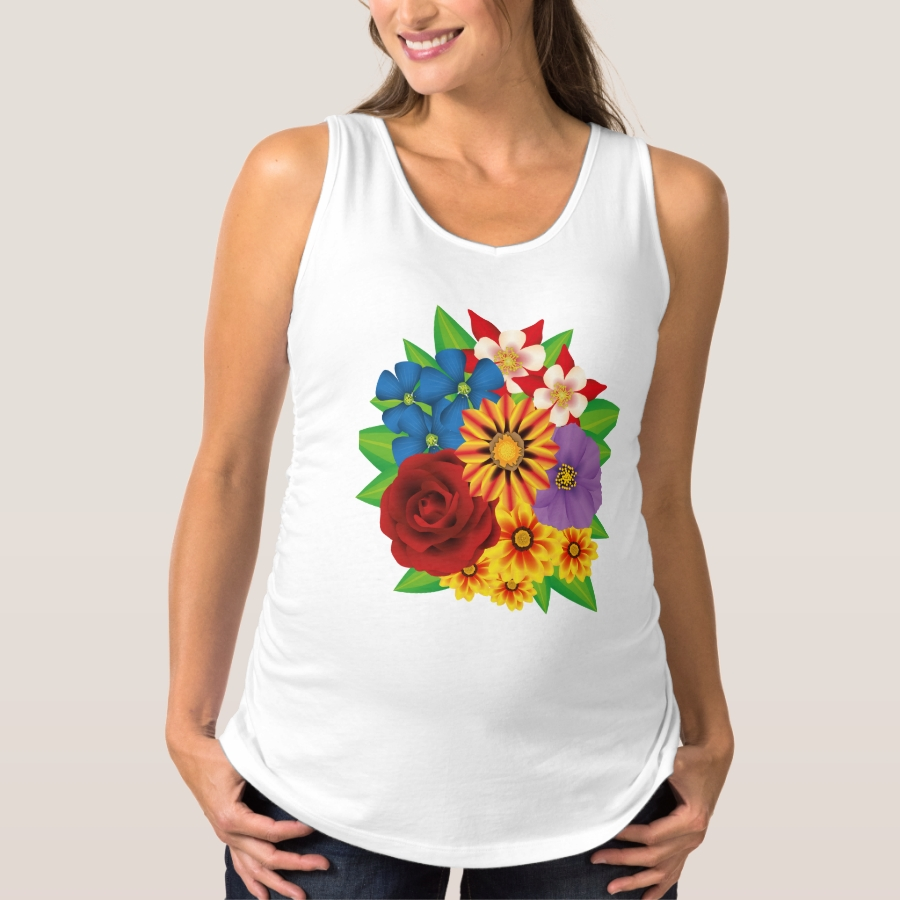 Colorful bouquet maternity tank top - Relaxed And Flattering Maternity Shirts