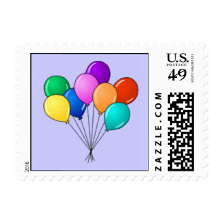 Colorful Bouquet of Balloons on Blue Custom Color Stamp