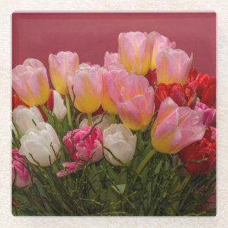 Colorful Bouquet of Tulips Glass Coaster