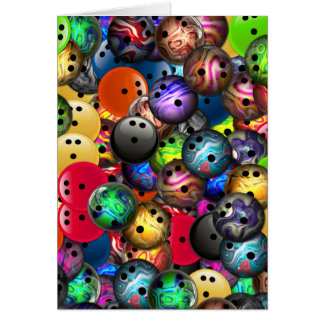 Colorful Bowling Balls Collage Greeting Cards