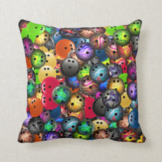 Colorful Bowling Balls Collage Throw Pillow