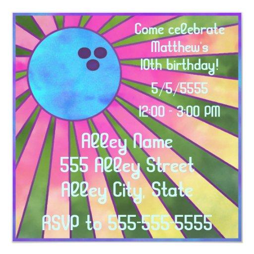"""Colorful Bowling Birthday Party Invite Retro 80s 5.25"""" Square Invitation Card"""