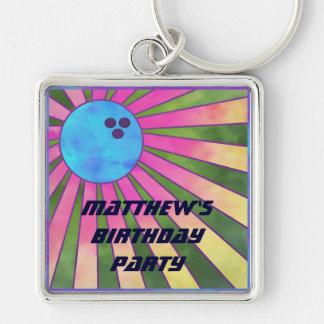 Colorful Bowling Birthday Party Keychain Retro 80s
