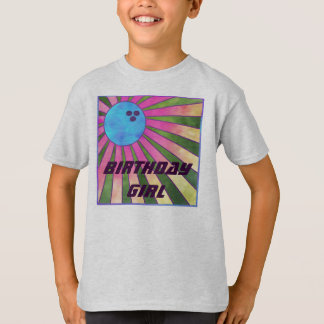 Colorful Bowling Birthday Party T shirt Retro Girl