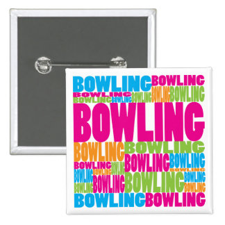 Colorful Bowling 2 Inch Square Button