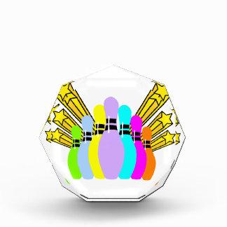 Colorful Bowling Pins Acrylic Award