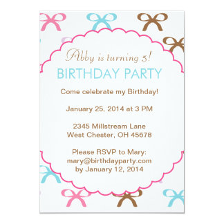 Colorful Bows Birthday Party Inviation for a Girl 5x7 Paper Invitation Card