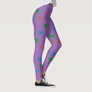 Colorful Bows purple, red, blue Leggings