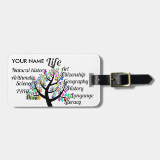 Colorful Branches of Life and Education Bag Tag