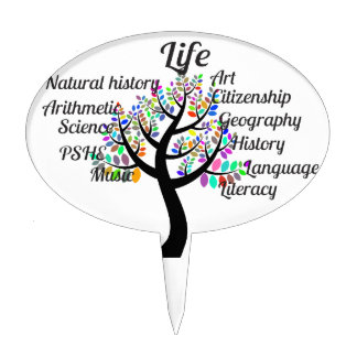 Colorful Branches of Life and Education Cake Topper