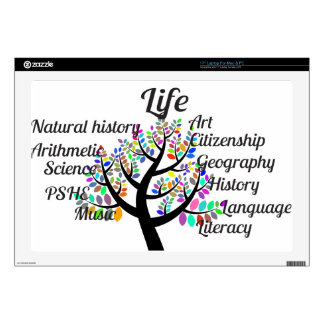 "Colorful Branches of Life and Education Decal For 17"" Laptop"