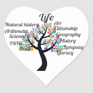 Colorful Branches of Life and Education Heart Sticker