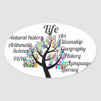 Colorful Branches of Life and Education Oval Sticker