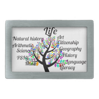 Colorful Branches of Life and Education Rectangular Belt Buckle