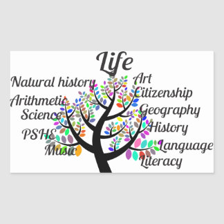 Colorful Branches of Life and Education Rectangular Sticker
