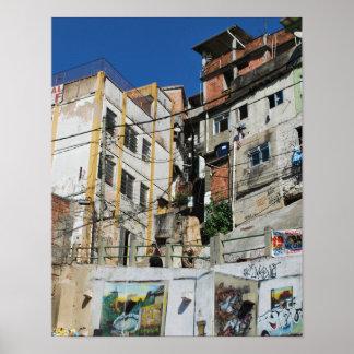 Colorful Brasilian favela cityscape (Rio de Jan) Poster
