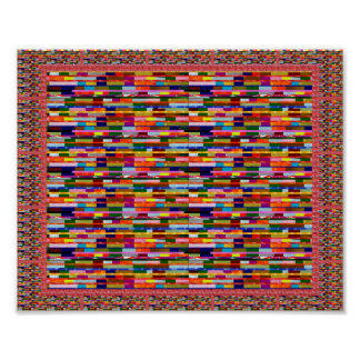 Colorful Brick assortment Art Red Brown Textures Poster