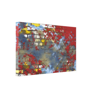 Colorful Brick Wall with Spattered Paint Canvas