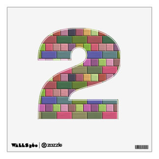 Colorful bricks, add wall graffiti style initials wall decal