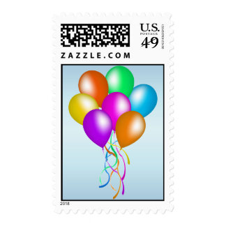 Colorful Bright Bunch of Balloons Postage