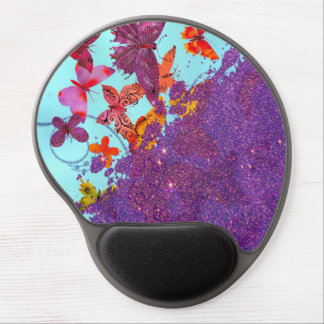 Colorful Bright Butterflies and Purple Glitter Gel Mouse Pad