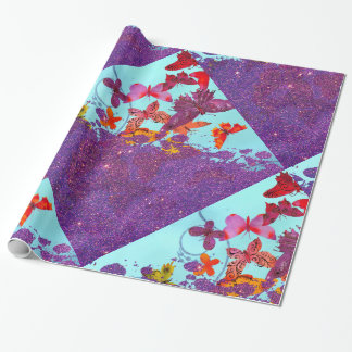 Colorful Bright Butterflies and Purple Glitter Wrapping Paper