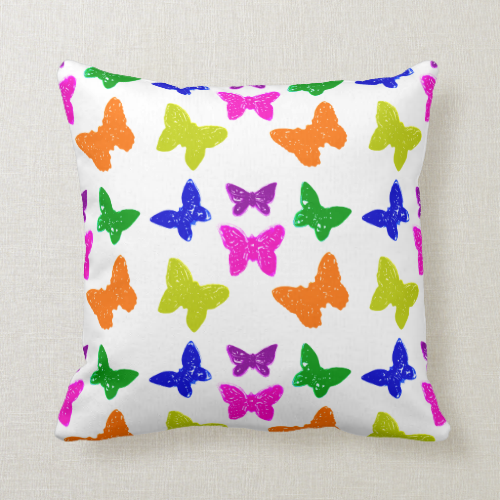 Colorful Bright Butterflies Pillow