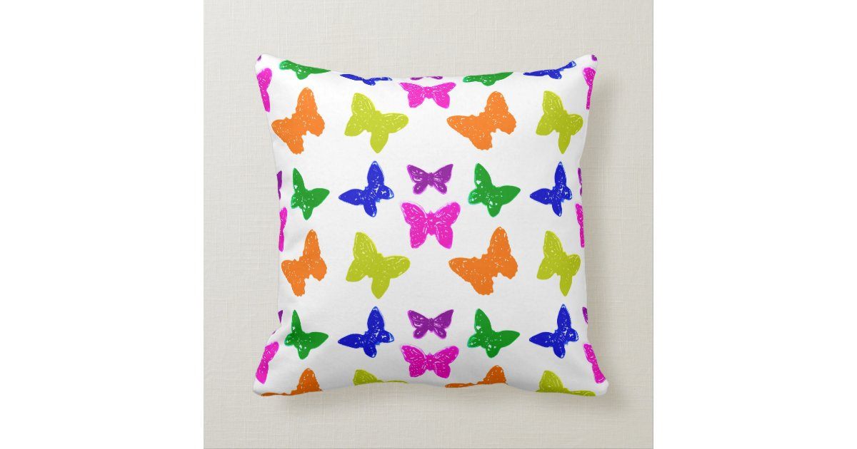 Colorful Bright Butterflies Throw Pillow Zazzle