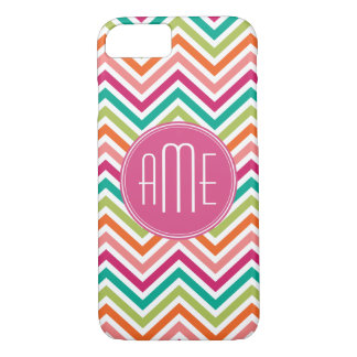 Colorful Bright Chevrons with Custom Monogram iPhone 8/7 Case