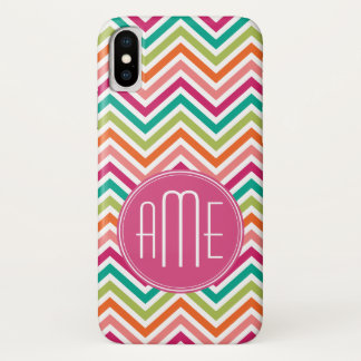 Colorful Bright Chevrons with Custom Monogram iPhone X Case